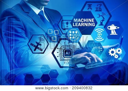Machine learning concept with man
