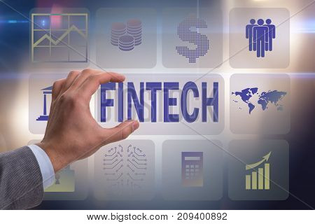 Hand holding financial technology fintech concept