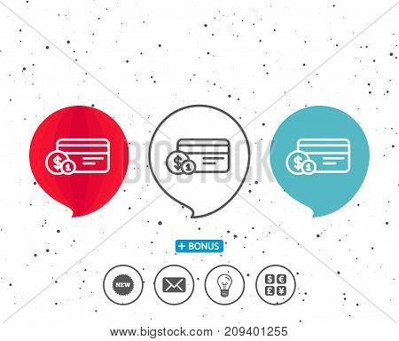 Speech bubbles with symbol. Credit card line icon. Banking Payment card with Coins sign. ATM service symbol. Bonus with different classic signs. Random circles background. Vector