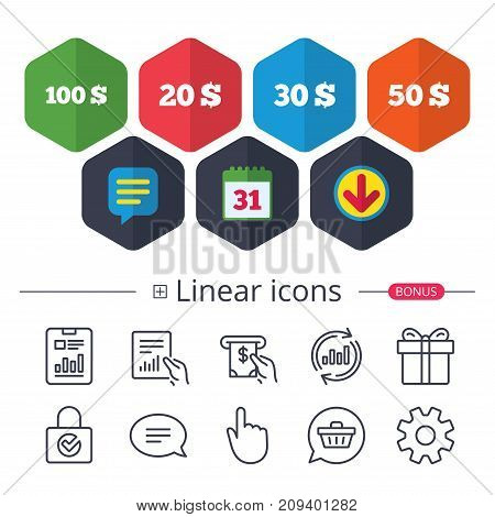 Calendar, Speech bubble and Download signs. Money in Dollars icons. 100, 20, 30 and 50 USD symbols. Money signs Chat, Report graph line icons. More linear signs. Editable stroke. Vector