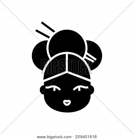 geisha icon, illustration, vector sign on isolated background