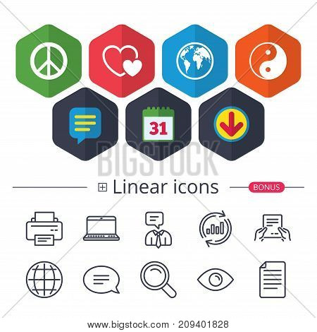 Calendar, Speech bubble and Download signs. World globe icon. Ying yang sign. Hearts love sign. Peace hope. Harmony and balance symbol. Chat, Report graph line icons. More linear signs. Vector