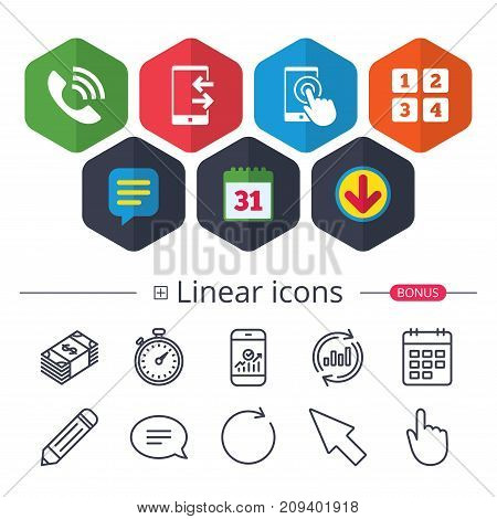 Calendar, Speech bubble and Download signs. Phone icons. Touch screen smartphone sign. Call center support symbol. Cellphone keyboard symbol. Incoming and outcoming calls. Vector
