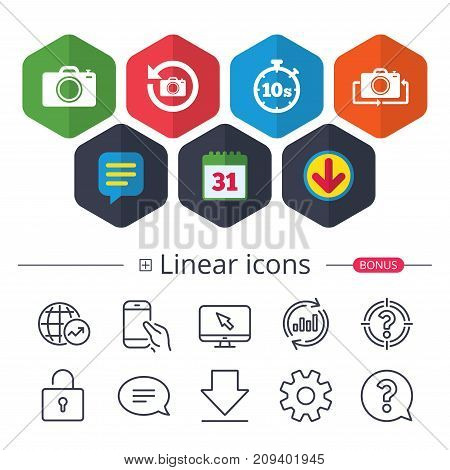 Calendar, Speech bubble and Download signs. Photo camera icon. Flip turn or refresh symbols. Stopwatch timer 10 seconds sign. Chat, Report graph line icons. More linear signs. Editable stroke. Vector