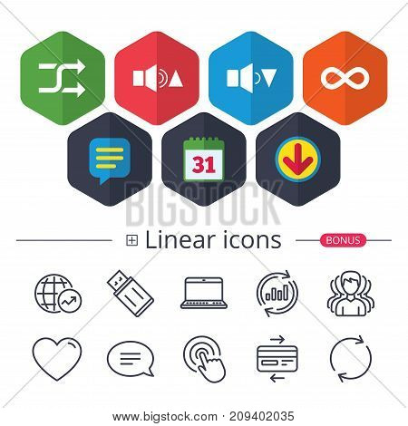 Calendar, Speech bubble and Download signs. Player control icons. Sound louder and quieter signs. Dynamic symbol. Shuffle random and repeat loop. Chat, Report graph line icons. More linear signs