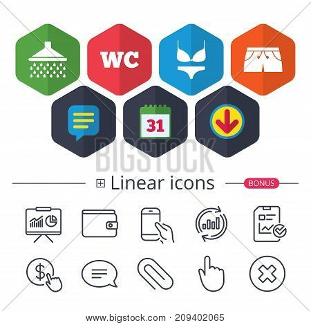 Calendar, Speech bubble and Download signs. Swimming pool icons. Shower water drops and swimwear symbols. WC Toilet sign. Trunks and women underwear. Chat, Report graph line icons. More linear signs