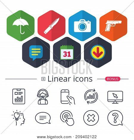 Calendar, Speech bubble and Download signs. Gun weapon icon.Knife, umbrella and photo camera signs. Edged hunting equipment. Prohibition objects. Chat, Report graph line icons. More linear signs