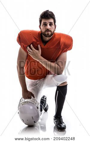 Football player on red uniform isolated on white background