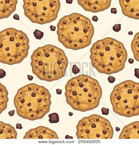 Choco chip cookie seamless pattern. Homemade chocolate cookies and crumbs white background, vector illustration