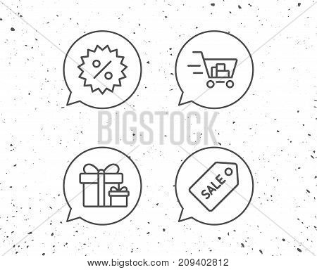 Speech bubbles with signs. Shopping cart, Gift box and Sale Coupon line icons. Gifts, Presents and Sale offer signs. Grunge background. Editable stroke. Vector