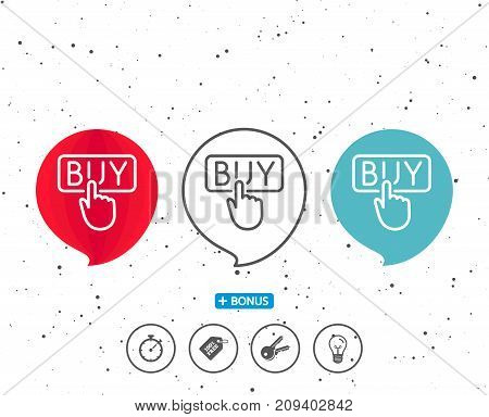 Speech bubbles with symbol. Click to Buy line icon. Online Shopping sign. E-commerce processing symbol. Bonus with different classic signs. Random circles background. Vector