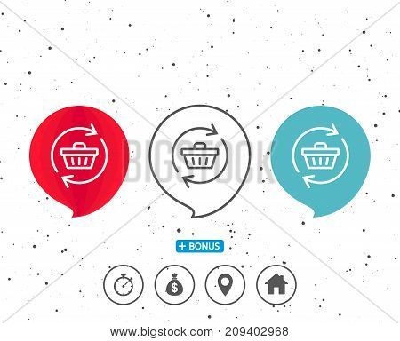Speech bubbles with symbol. Update Shopping cart line icon. Online buying sign. Supermarket basket symbol. Bonus with different classic signs. Random circles background. Vector