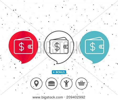 Speech bubbles with symbol. Shopping Wallet line icon. Dollar sign. USD Money pocket symbol. Bonus with different classic signs. Random circles background. Vector