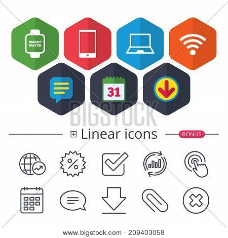 Calendar, Speech bubble and Download signs. Notebook and smartphone icons. Smart watch symbol. Wi-fi sign. Wireless Network symbol. Mobile devices. Chat, Report graph line icons. More linear signs