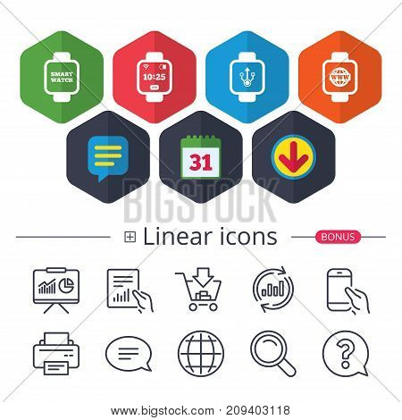Calendar, Speech bubble and Download signs. Smart watch icons. Wrist digital time watch symbols. USB data, Globe internet and wi-fi signs. Chat, Report graph line icons. More linear signs. Vector