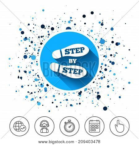 Button on circles background. Step by step sign icon. Footprint shoes symbol. Calendar line icon. And more line signs. Random circles. Editable stroke. Vector