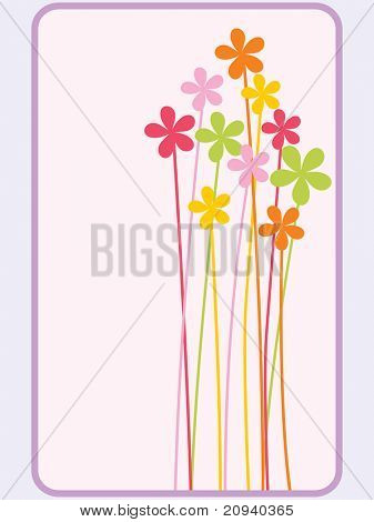 abstract background with colorful bloom pattern card illustration