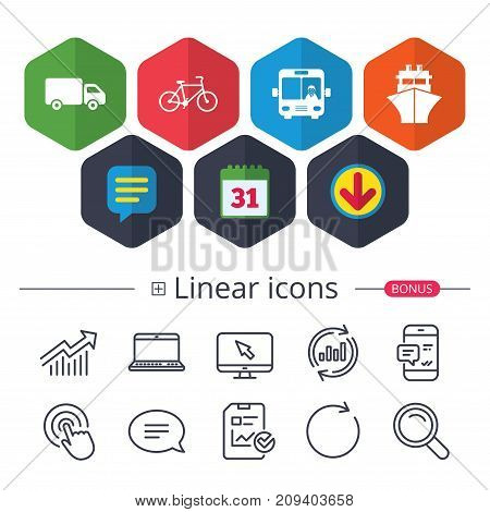 Calendar, Speech bubble and Download signs. Transport icons. Truck, Bicycle, Public bus with driver and Ship signs. Shipping delivery symbol. Family vehicle sign. Chat, Report graph line icons