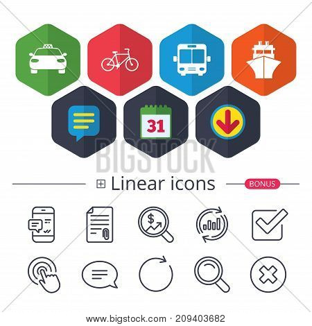 Calendar, Speech bubble and Download signs. Transport icons. Taxi car, Bicycle, Public bus and Ship signs. Shipping delivery symbol. Family vehicle sign. Chat, Report graph line icons. Vector