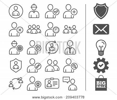 Users line icons. Profile, Group and Support signs. ID card, Teamwork and Businessman symbols. Person talk, Engineer and Human Management. Bonus classic signs. Editable stroke. Vector