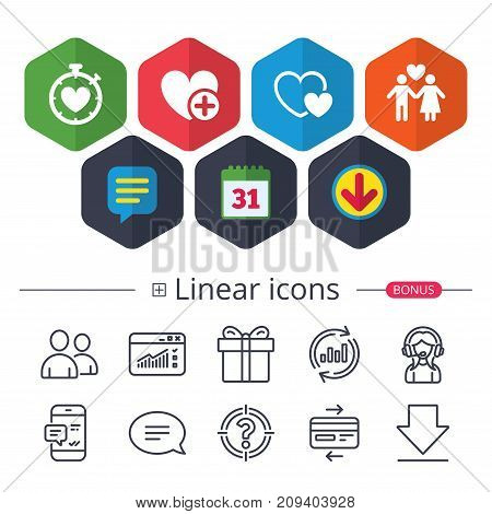 Calendar, Speech bubble and Download signs. Valentine day love icons. Love heart timer symbol. Couple lovers sign. Add new love relationship. Chat, Report graph line icons. More linear signs. Vector