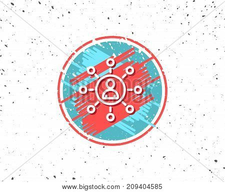 Grunge button with symbol. Business networking line icon. Teamwork or Human resources sign. Random background. Vector