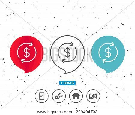 Speech bubbles with symbol. Currency exchange line icon. Money Transfer sign. Dollar in rotation arrow symbol. Bonus with different classic signs. Random circles background. Vector