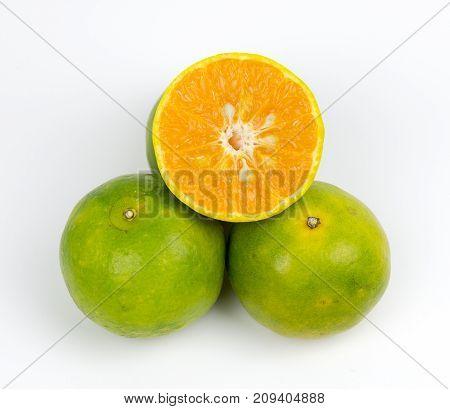 Oranges Fruit Full and Sliced on white background