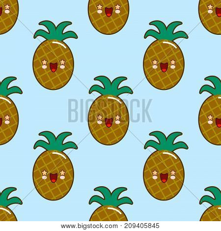 Seamless pattern with smiling pineapples for kids holidays. Vector pineapple background. Cute summer fruit illustration. Exotic summer concept. Eps10