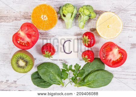 Fruits And Vegetables As Sources Vitamin C, Dietary Fiber And Minerals, Strengthening Immunity Conce