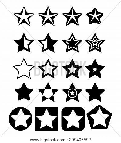 Pentagonal five point star collection emblem icon design elements,  illustration template set