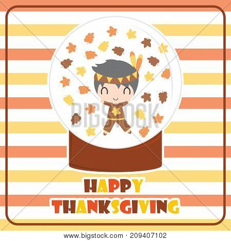 Cute Indian boy in glass ball vector cartoon illustration for thanksgiving's day card design, wallpaper and greeting card