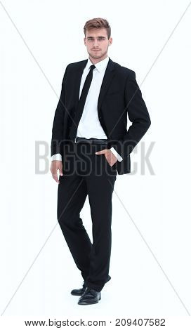 portrait in full length of confident businessman.