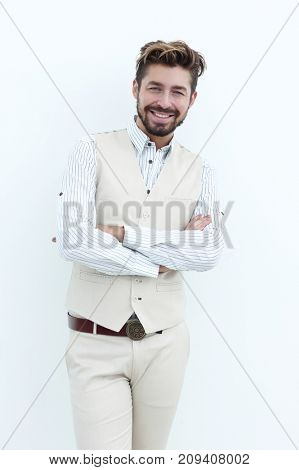 happy handsome stylish man with crossed hands