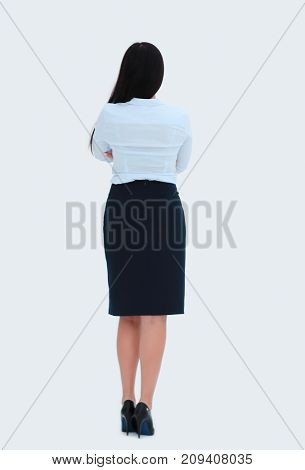rear view. successful business woman.photo in full growth.