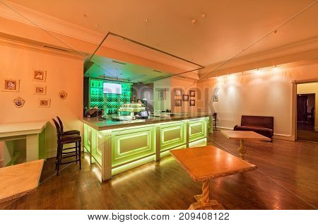 MOSCOW - AUGUST 2014: Interior of the restaurant of Georgian and European cuisine -