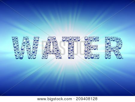 Water drops on the sunburst background, vector illustration