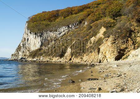 a sea bay at the cliff, a seashore, a wild beach