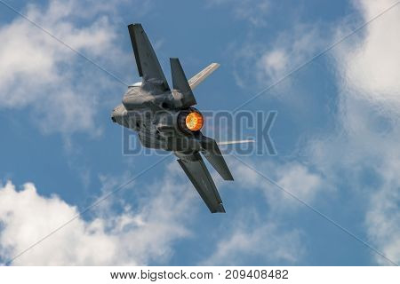 NEW WINDSOR NY - JULY 2 2017: The Lockheed Martin F-35 Lightning II from Stewart International Airport during the New York Airshow.