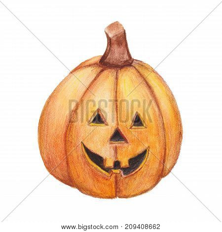 Watercolor halloween pumpkin. Isolated on white background