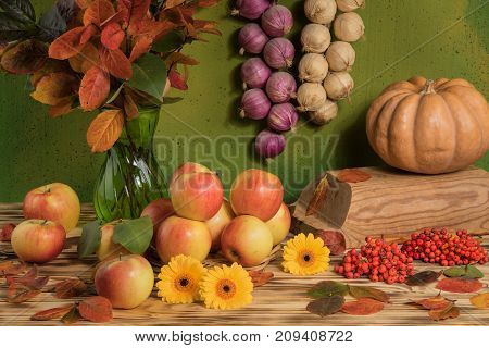 apples on a green background with vegetables and autumn leaves