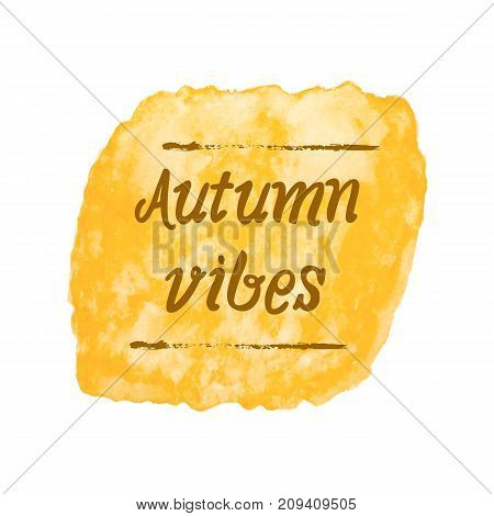 Yellow autumn fall abstract watercolor painting textured isolated on white paper background