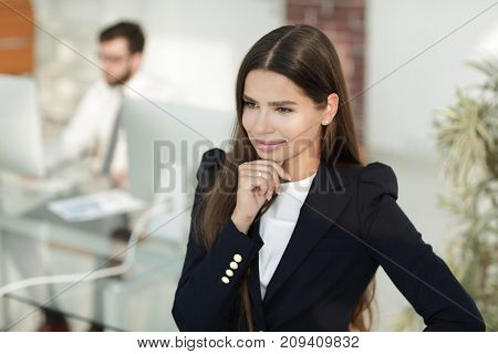 closeup of confident business woman