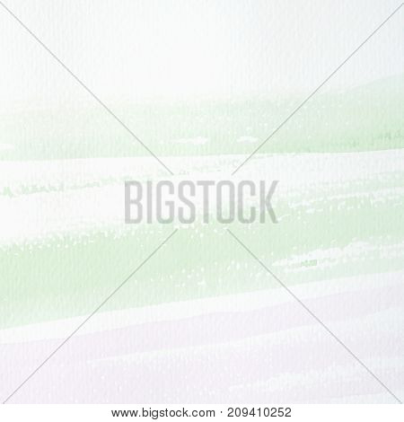 Green and purple abstract watercolor painting textured on white paper background