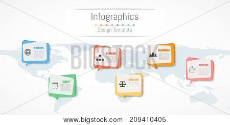 Infographic design for your business data with 6 options parts steps timelines or processes. Communication network concept Vector Illustration. World map of this image furnished by NASA