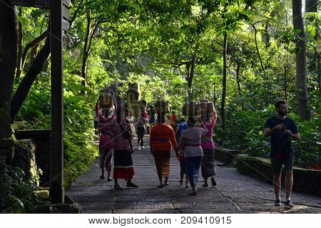 The Ritual In One Hindu Temple (called Pura) In Bali, Indonesia