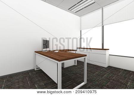 Modern Empty Room 3D render interior design mock up illustration