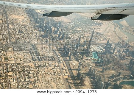 Dubai city view from a plane