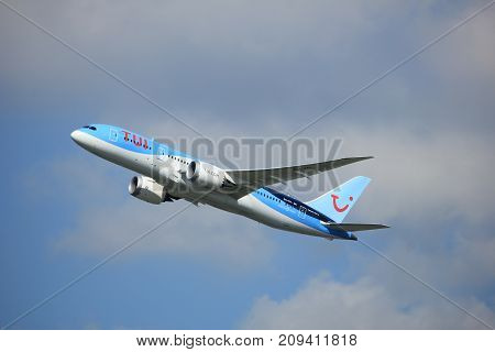 Amsterdam the Netherlands - September 23rd 2017: PH-TFL TUI Airlines Netherlands Boeing 787-8 Dreamliner takeoff from Kaagbaan runway Amsterdam Airport Schiphol