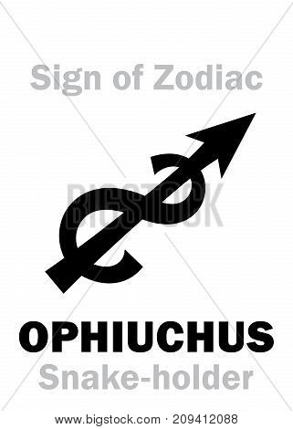 Astrology Alphabet: 13th Sign of Zodiac OPHIUCHUS / SERPENTARIUS (The Snake-holder) constellation between Scorpio and Sagittarius. Hieroglyphics character sign (single symbol).